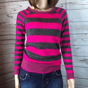 Aeropostale Pink/Gray striped Sweater #0569